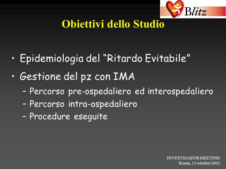 INVESTIGATOR MEETING Roma, 13 ottobre 2001 Obiettivi dello Studio Epidemiologia del Ritardo Evitabile Gestione del pz con IMA –Percorso pre-ospedalier