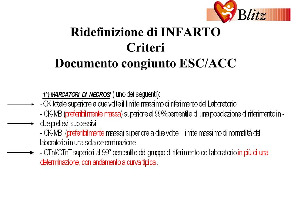 INVESTIGATOR MEETING Roma, 13 ottobre 2001 Ridefinizione di INFARTO Criteri Documento congiunto ESC/ACC