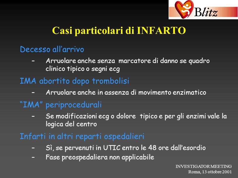 INVESTIGATOR MEETING Roma, 13 ottobre 2001 Casi particolari di INFARTO Decesso allarrivo –Arruolare anche senza marcatore di danno se quadro clinico t