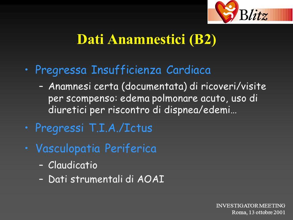 INVESTIGATOR MEETING Roma, 13 ottobre 2001 Dati Anamnestici (B2) Pregressa Insufficienza Cardiaca –Anamnesi certa (documentata) di ricoveri/visite per
