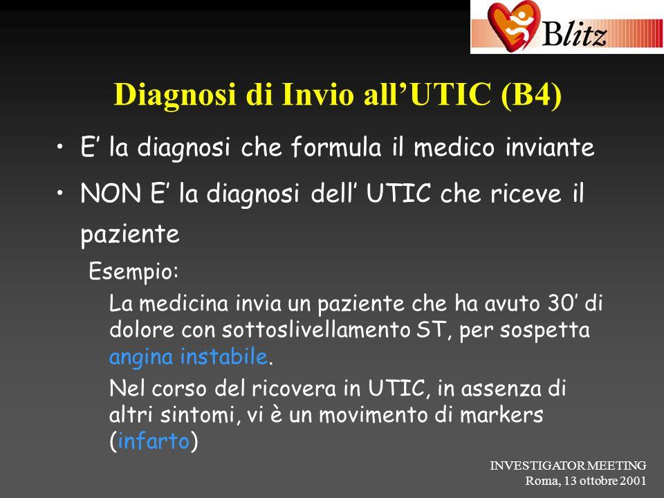 INVESTIGATOR MEETING Roma, 13 ottobre 2001 Diagnosi di Invio allUTIC (B4) E la diagnosi che formula il medico inviante NON E la diagnosi dell UTIC che