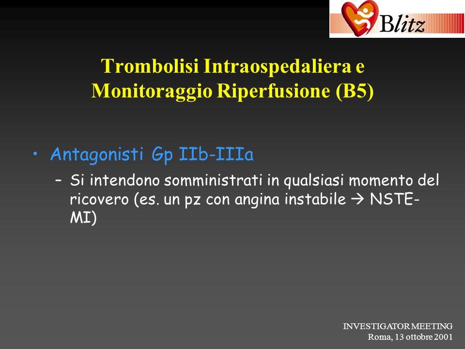 INVESTIGATOR MEETING Roma, 13 ottobre 2001 Trombolisi Intraospedaliera e Monitoraggio Riperfusione (B5) Antagonisti Gp IIb-IIIa –Si intendono somminis