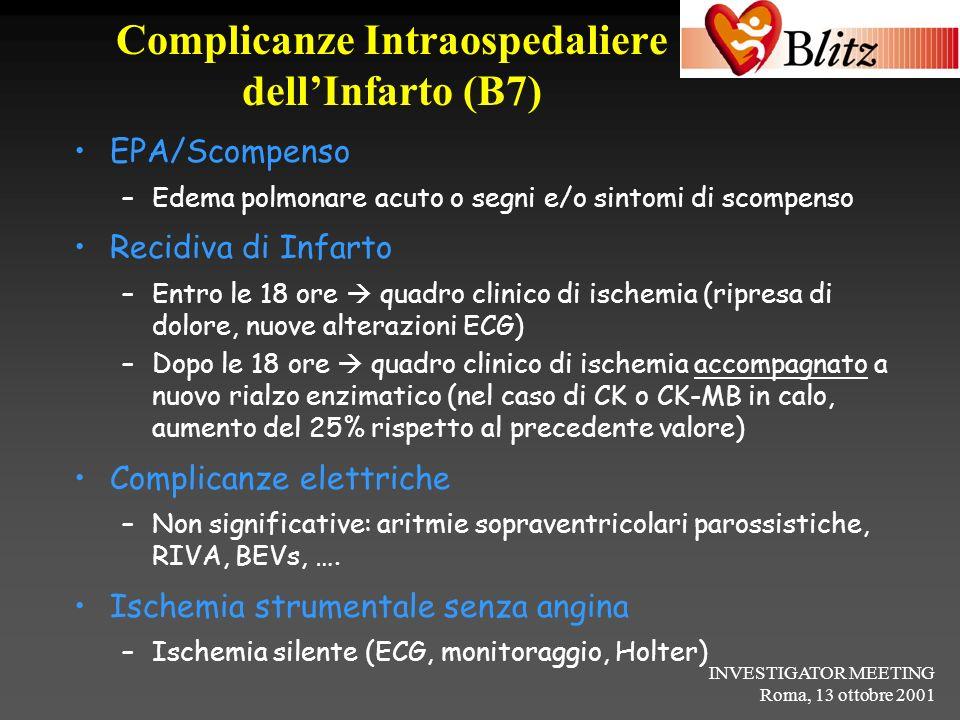 INVESTIGATOR MEETING Roma, 13 ottobre 2001 Complicanze Intraospedaliere dellInfarto (B7) EPA/Scompenso –Edema polmonare acuto o segni e/o sintomi di s