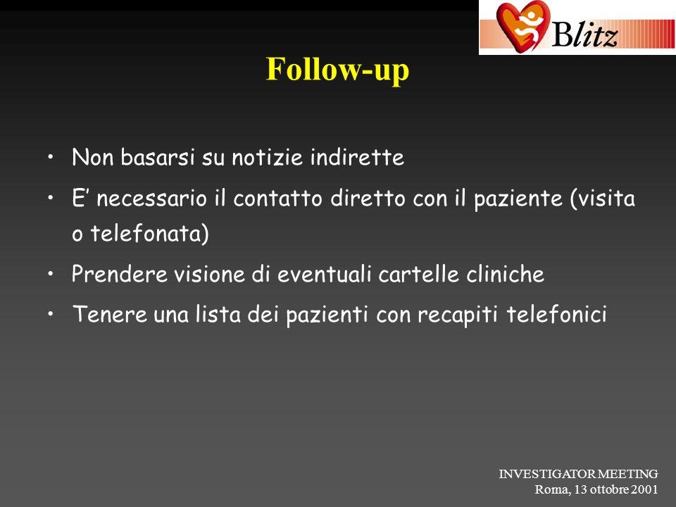 INVESTIGATOR MEETING Roma, 13 ottobre 2001 Follow-up Non basarsi su notizie indirette E necessario il contatto diretto con il paziente (visita o telef
