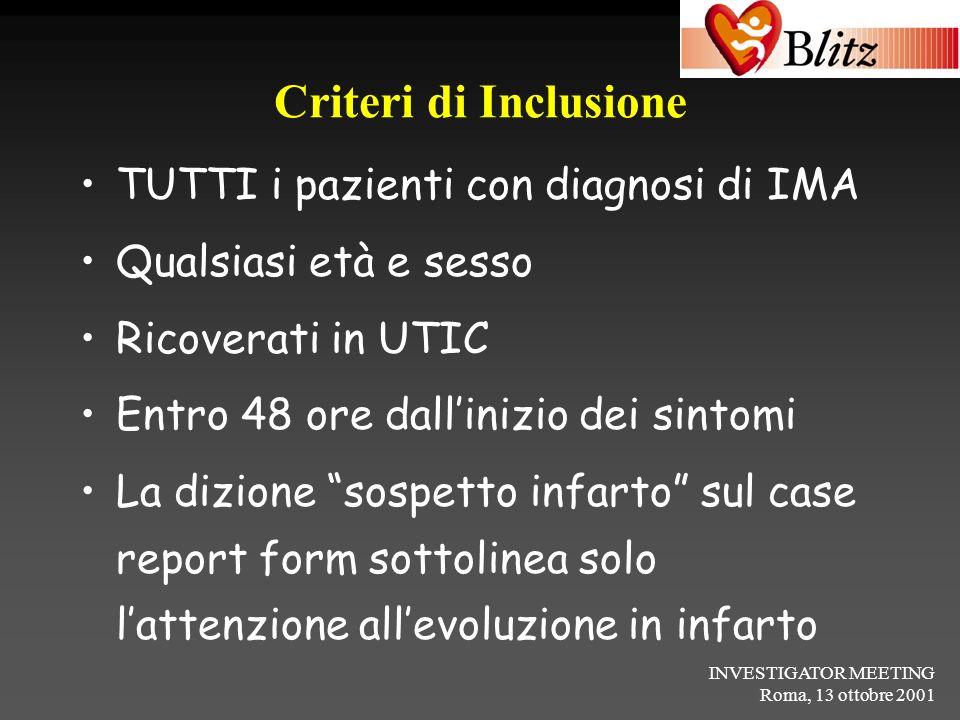 INVESTIGATOR MEETING Roma, 13 ottobre 2001 Criteri di Inclusione TUTTI i pazienti con diagnosi di IMA Qualsiasi età e sesso Ricoverati in UTIC Entro 4