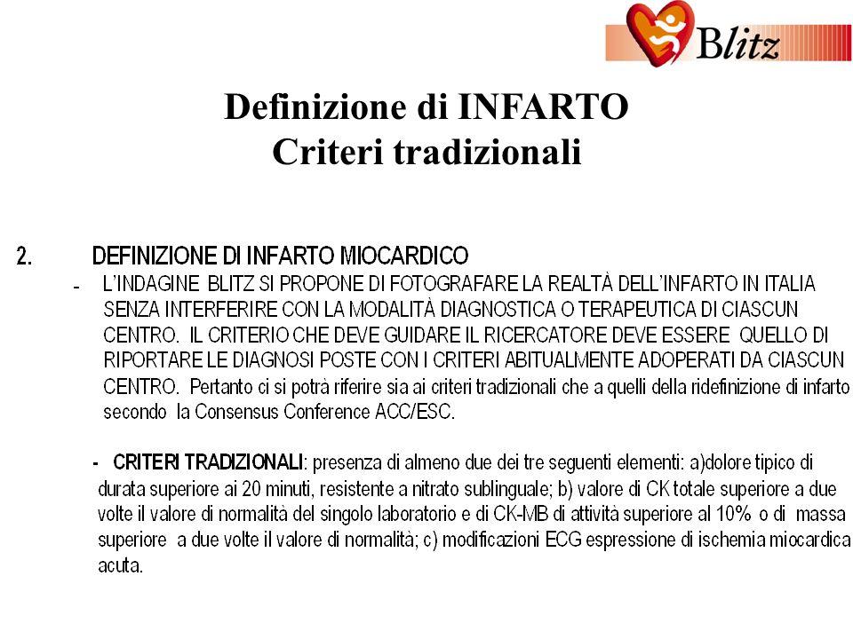 INVESTIGATOR MEETING Roma, 13 ottobre 2001 Definizione di INFARTO Criteri tradizionali