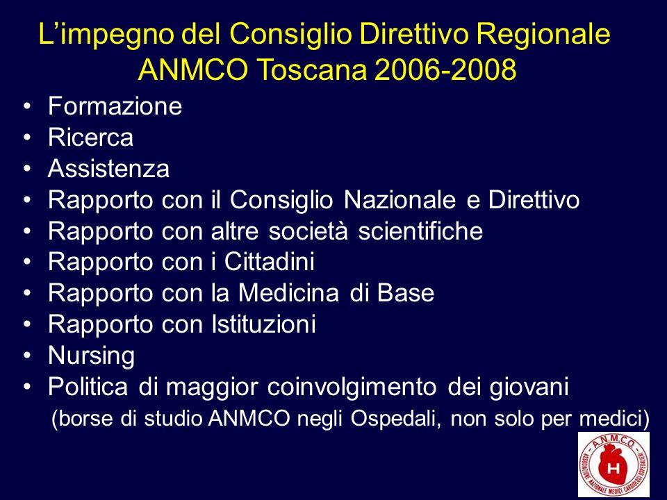 Formazione Ricerca Assistenza Rapporto con il Consiglio Nazionale e Direttivo Rapporto con altre società scientifiche Rapporto con i Cittadini Rapporto con la Medicina di Base Rapporto con Istituzioni Nursing Politica di maggior coinvolgimento dei giovani (borse di studio ANMCO negli Ospedali, non solo per medici) Limpegno del Consiglio Direttivo Regionale ANMCO Toscana 2006-2008