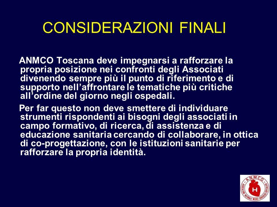 CONSIDERAZIONI FINALI ANMCO Toscana deve impegnarsi a rafforzare la propria posizione nei confronti degli Associati divenendo sempre più il punto di riferimento e di supporto nellaffrontare le tematiche più critiche allordine del giorno negli ospedali.