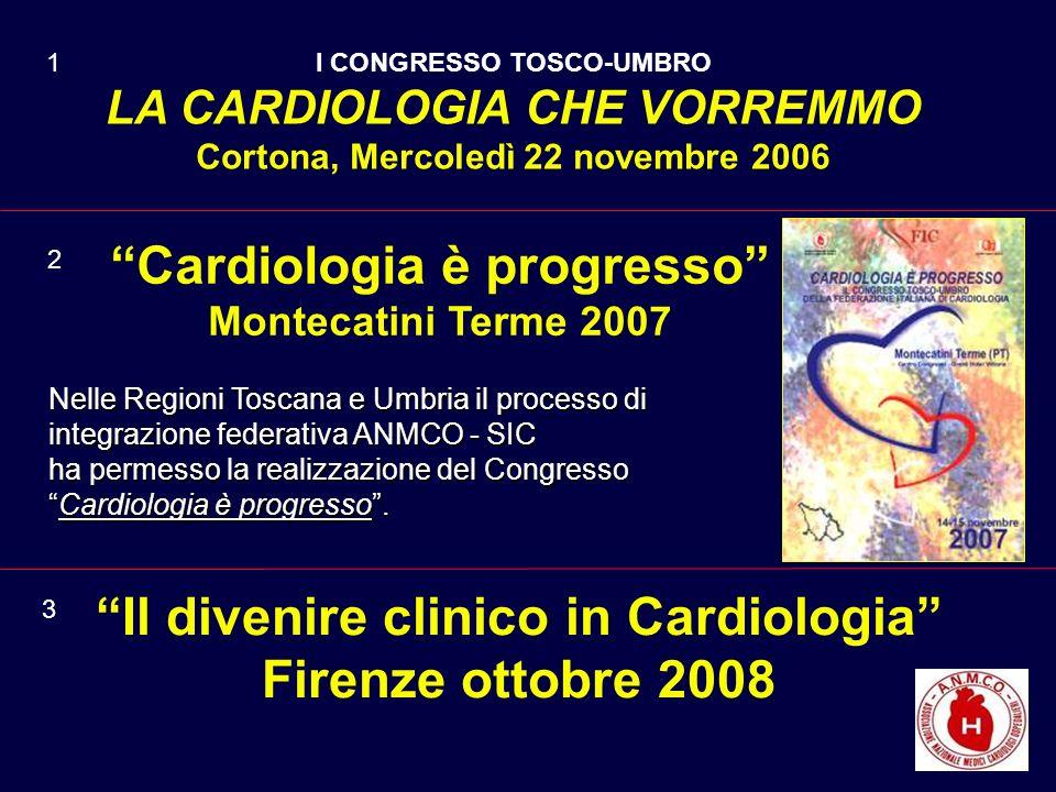 Cardiologia è progresso Montecatini Terme 2007 Nelle Regioni Toscana e Umbria il processo di integrazione federativa ANMCO - SIC ha permesso la realizzazione del Congresso Cardiologia è progresso.Cardiologia è progresso.