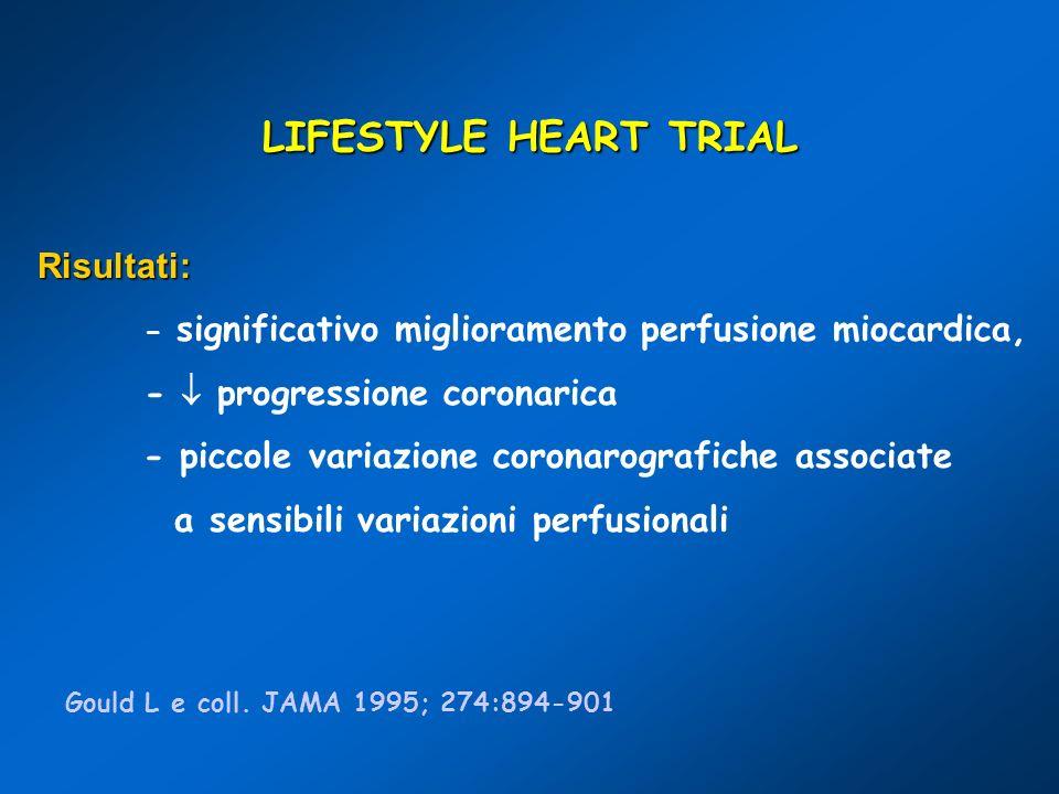 LIFESTYLE HEART TRIAL Risultati: - significativo miglioramento perfusione miocardica, - progressione coronarica - piccole variazione coronarografiche