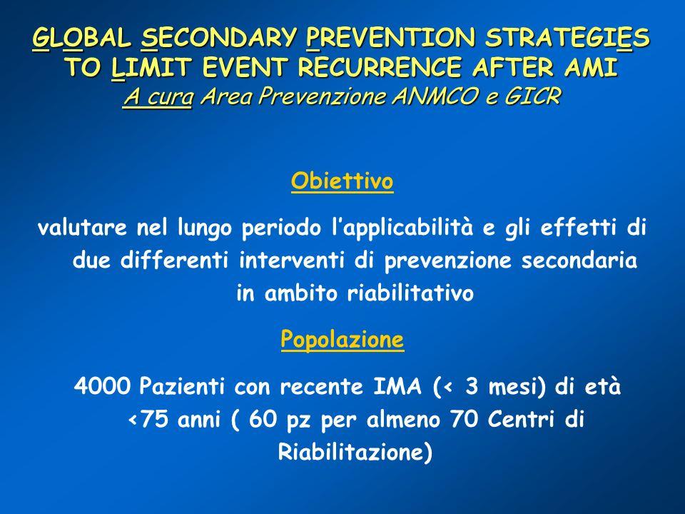 GLOBAL SECONDARY PREVENTION STRATEGIES TO LIMIT EVENT RECURRENCE AFTER AMI A cura Area Prevenzione ANMCO e GICR Obiettivo valutare nel lungo periodo l
