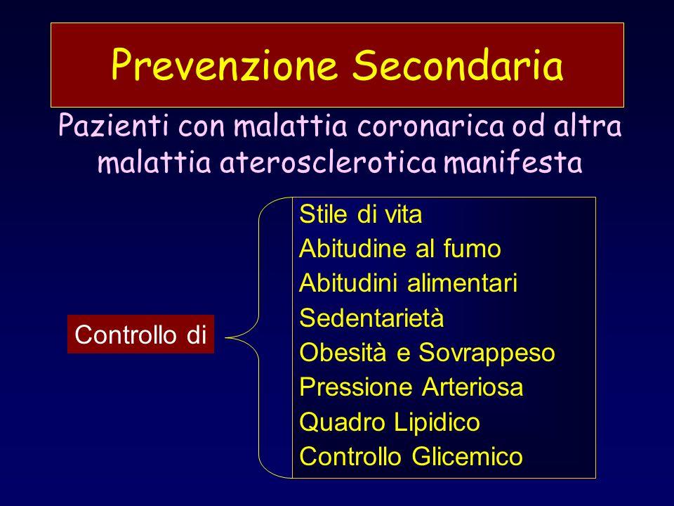 Le strategie di Prevenzione sono guidate dalla stima del Rischio Assoluto Letiologia della malattia coronarica è multifattoriale Il Rischio assoluto può essere stimato tenendo conto degli effetti individuali e moltiplicativi dei maggiori FRC: Età, Fumo, Sesso, Pressione Sistolica, Colesterolo Totale sierico Lintensità della strategia di prevenzione può essere guidata in base al grado di Rischio Assoluto Multifattoriale Prevenzione Primaria
