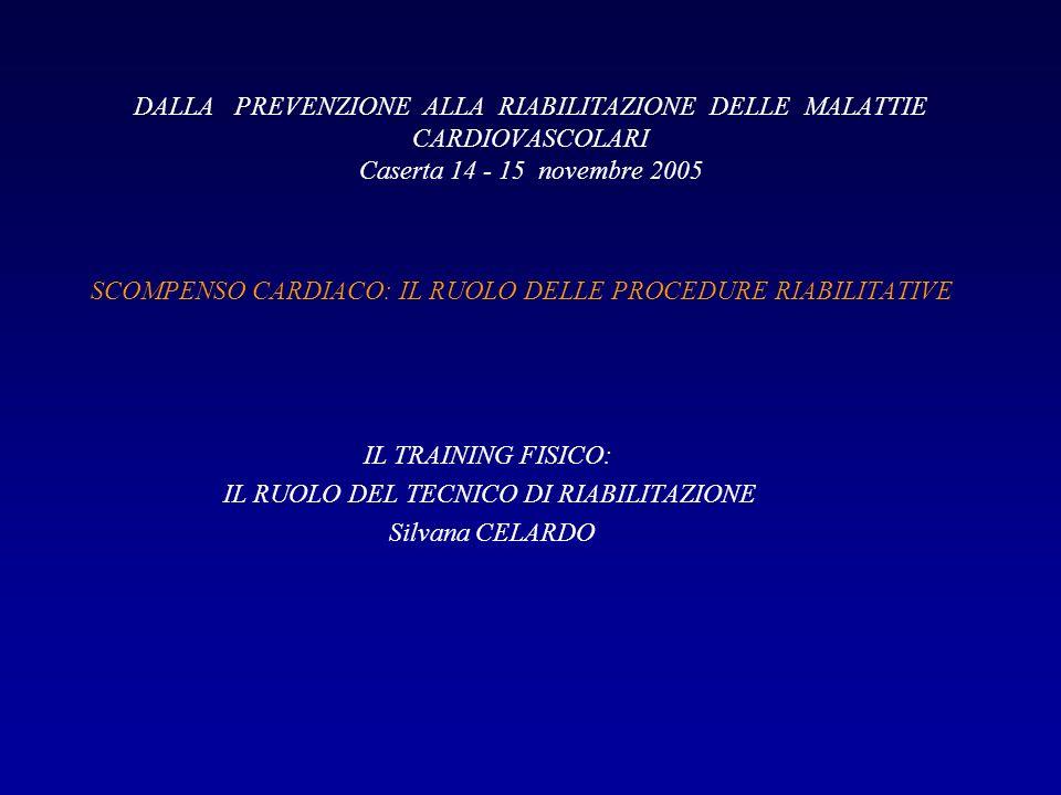 DALLA PREVENZIONE ALLA RIABILITAZIONE DELLE MALATTIE CARDIOVASCOLARI Caserta 14 - 15 novembre 2005 SCOMPENSO CARDIACO: IL RUOLO DELLE PROCEDURE RIABIL