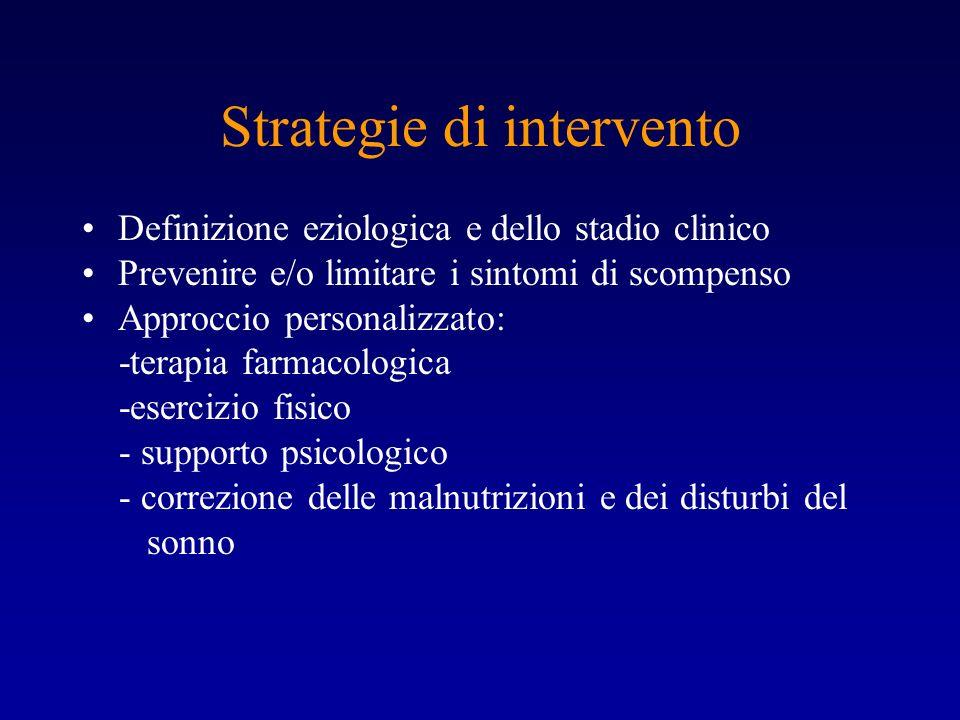 Strategie di intervento Definizione eziologica e dello stadio clinico Prevenire e/o limitare i sintomi di scompenso Approccio personalizzato: -terapia