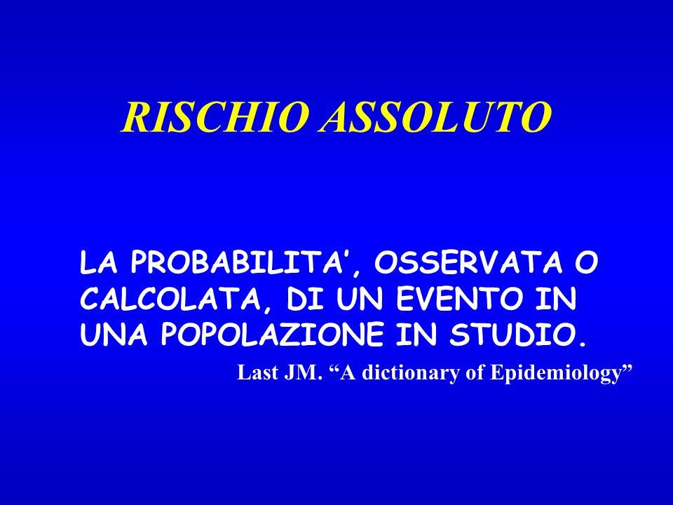 RISCHIO ASSOLUTO LA PROBABILITA, OSSERVATA O CALCOLATA, DI UN EVENTO IN UNA POPOLAZIONE IN STUDIO.