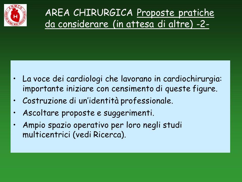 AREA CHIRURGICA Proposte pratiche da considerare (in attesa di altre) -2- La voce dei cardiologi che lavorano in cardiochirurgia: importante iniziare