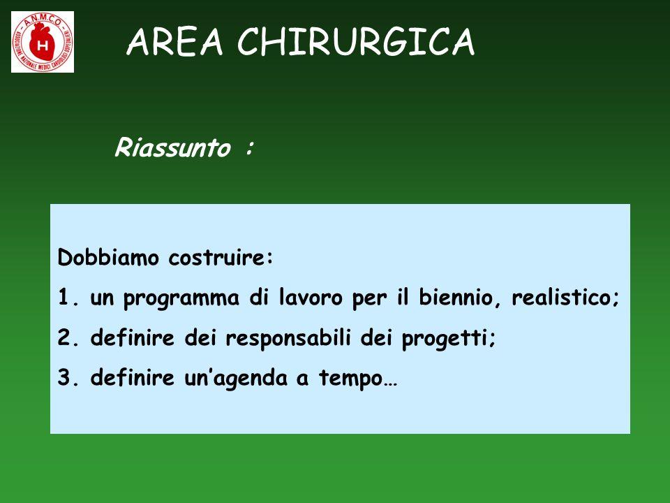 AREA CHIRURGICA Dobbiamo costruire: 1.un programma di lavoro per il biennio, realistico; 2.definire dei responsabili dei progetti; 3.definire unagenda