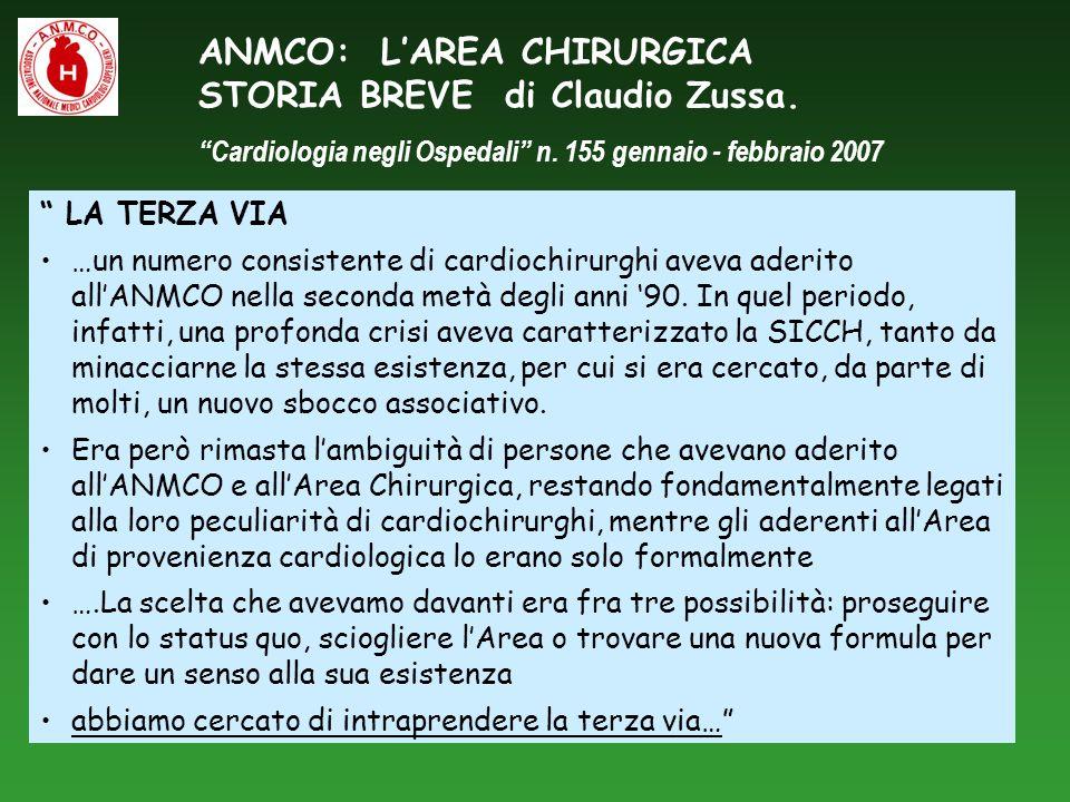ANMCO: LAREA CHIRURGICA STORIA BREVE di Claudio Zussa. Cardiologia negli Ospedali n. 155 gennaio - febbraio 2007 LA TERZA VIA …un numero consistente d