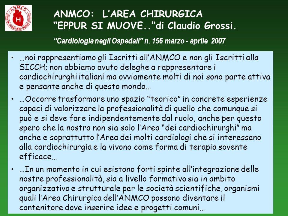 ANMCO: LAREA CHIRURGICA EPPUR SI MUOVE..di Claudio Grossi. Cardiologia negli Ospedali n. 156 marzo - aprile 2007 …noi rappresentiamo gli Iscritti allA