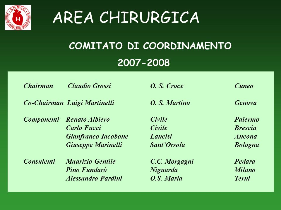 AREA CHIRURGICA COMITATO DI COORDINAMENTO 2007-2008 Chairman Claudio Grossi O. S. CroceCuneo Co-Chairman Luigi Martinelli O. S. Martino Genova Compone