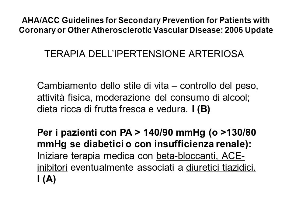 AHA/ACC Guidelines for Secondary Prevention for Patients with Coronary or Other Atherosclerotic Vascular Disease: 2006 Update TERAPIA DELLIPERTENSIONE