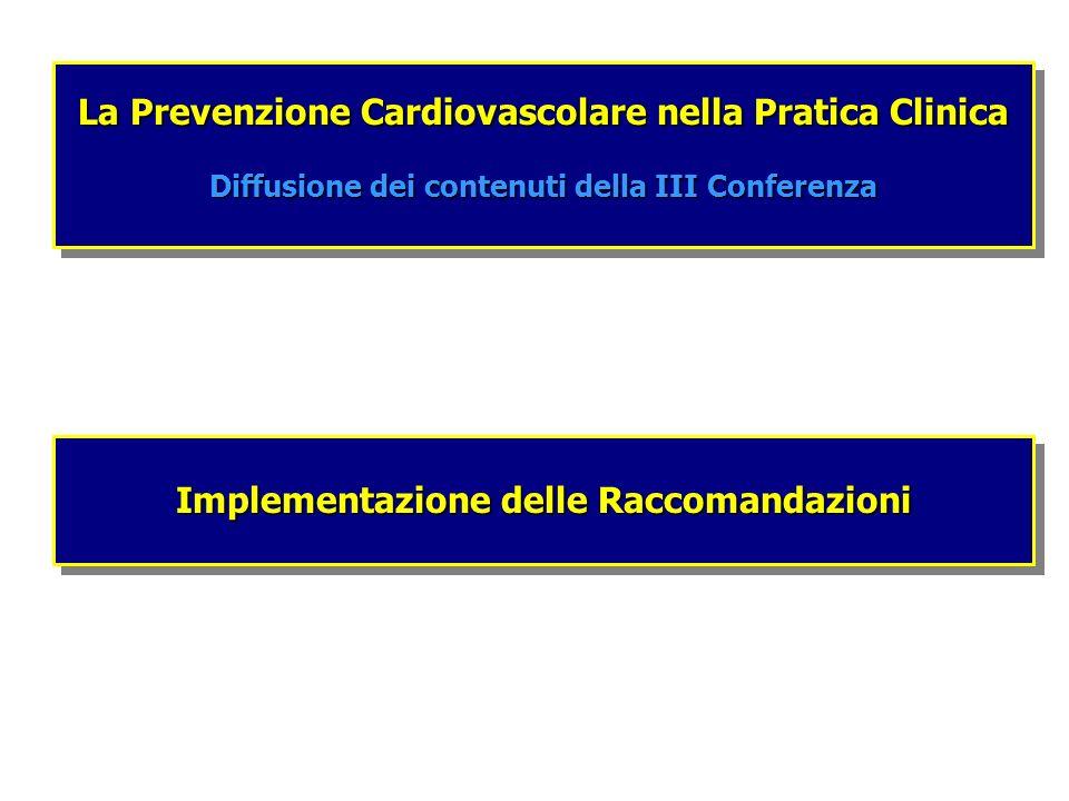 Implementazione delle Raccomandazioni La Prevenzione Cardiovascolare nella Pratica Clinica Diffusione dei contenuti della III Conferenza La Prevenzion