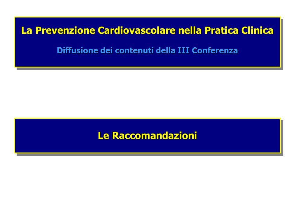Le Raccomandazioni La Prevenzione Cardiovascolare nella Pratica Clinica Diffusione dei contenuti della III Conferenza La Prevenzione Cardiovascolare n
