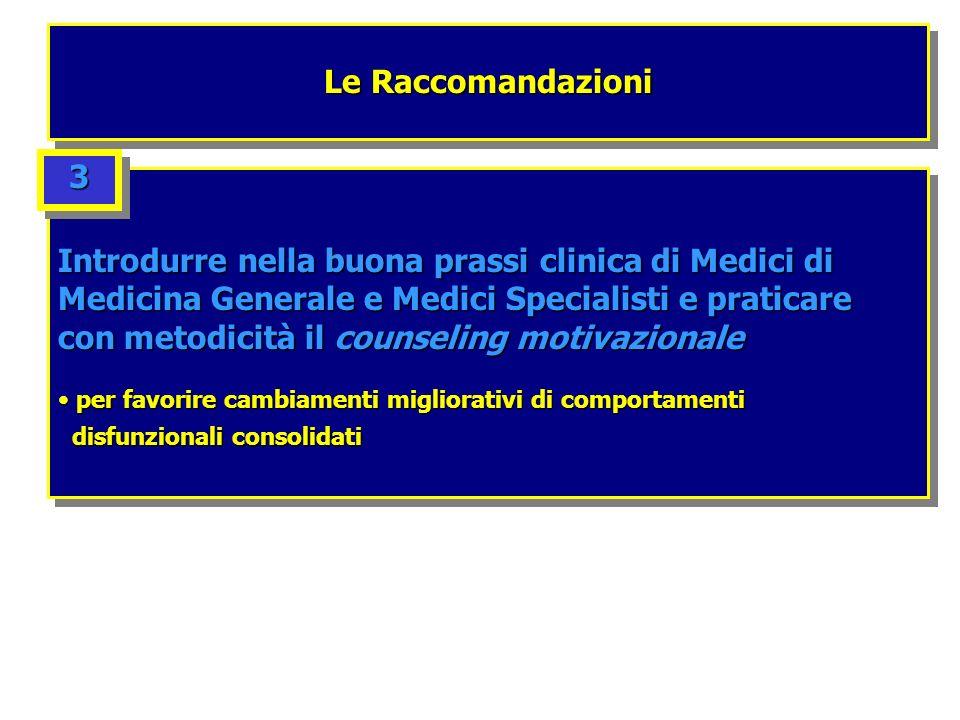 Le Raccomandazioni Introdurre nella buona prassi clinica di Medici di Medicina Generale e Medici Specialisti e praticare con metodicità il counseling
