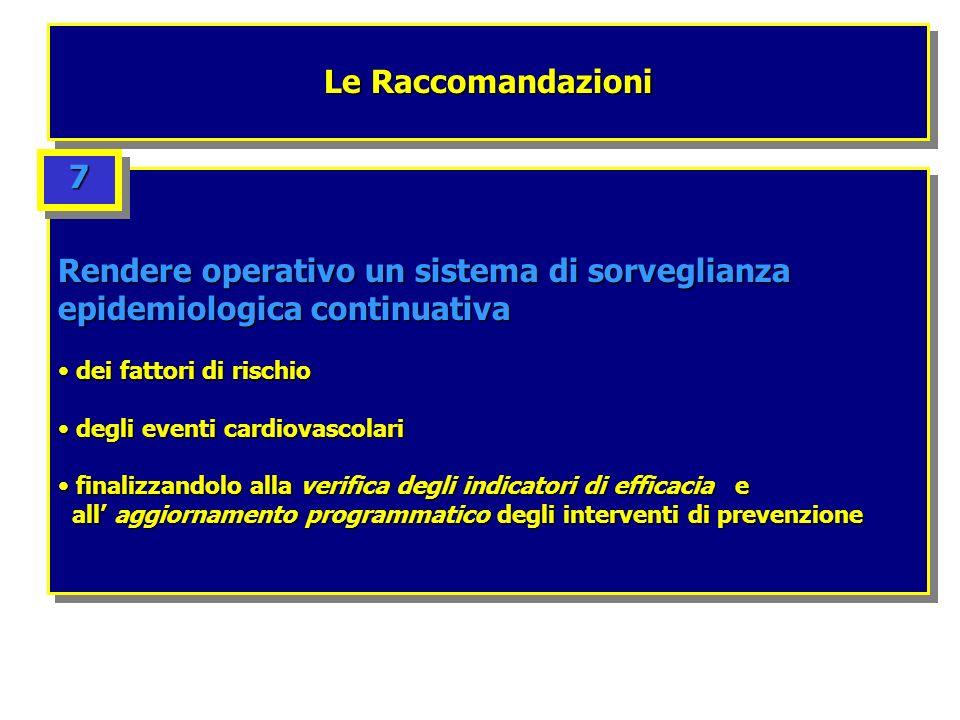Le Raccomandazioni Rendere operativo un sistema di sorveglianza epidemiologica continuativa dei fattori di rischio dei fattori di rischio degli eventi