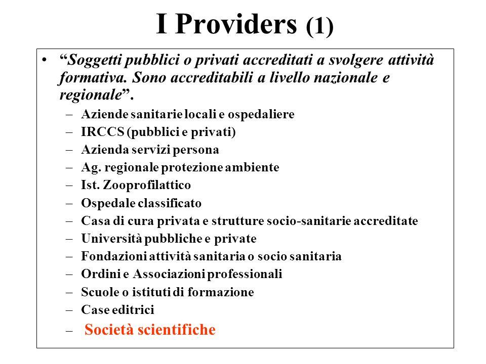 I Providers (1) Soggetti pubblici o privati accreditati a svolgere attività formativa.