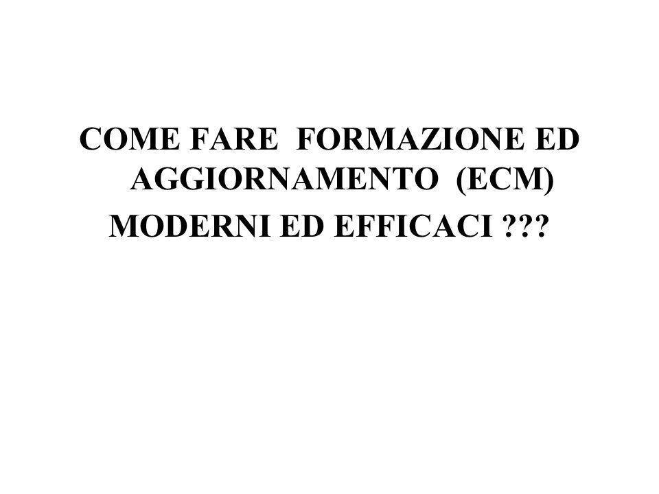 COME FARE FORMAZIONE ED AGGIORNAMENTO (ECM) MODERNI ED EFFICACI