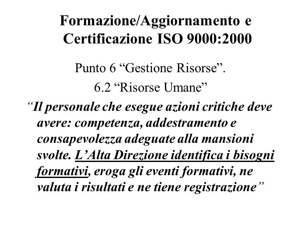 Formazione/Aggiornamento e Certificazione ISO 9000:2000 Punto 6 Gestione Risorse.