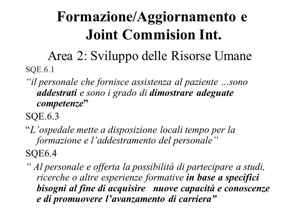 Formazione/Aggiornamento e Joint Commision Int.