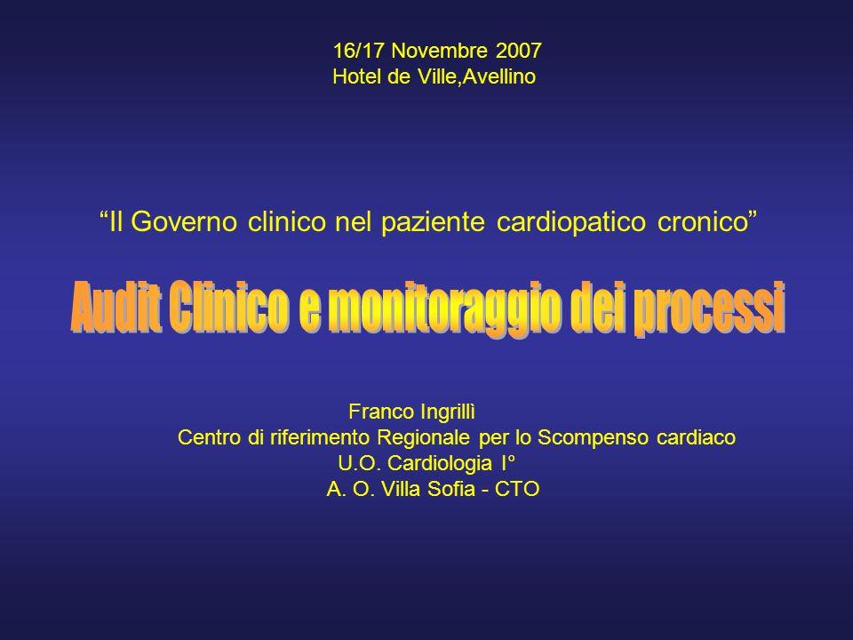 16/17 Novembre 2007 Hotel de Ville,Avellino Il Governo clinico nel paziente cardiopatico cronico Franco Ingrillì Centro di riferimento Regionale per lo Scompenso cardiaco U.O.