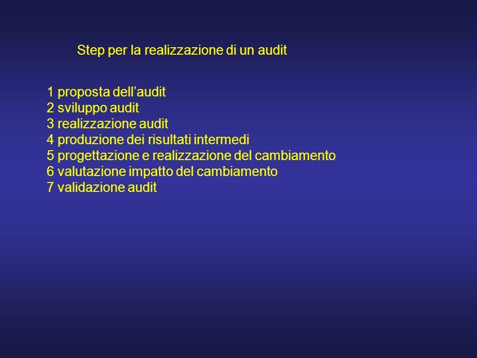 Step per la realizzazione di un audit 1 proposta dellaudit 2 sviluppo audit 3 realizzazione audit 4 produzione dei risultati intermedi 5 progettazione e realizzazione del cambiamento 6 valutazione impatto del cambiamento 7 validazione audit