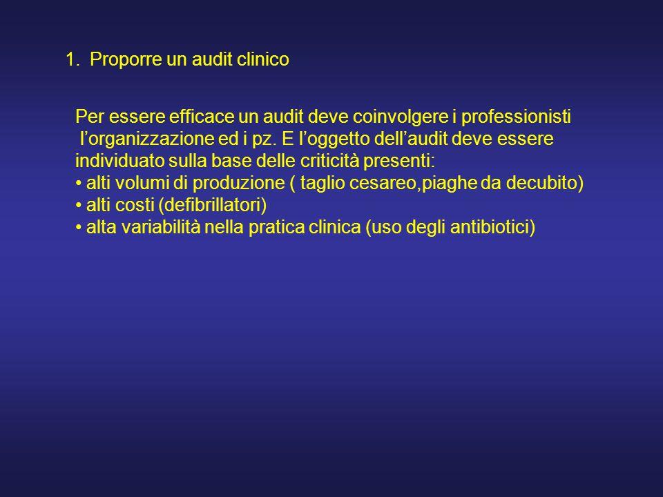 1.Proporre un audit clinico Per essere efficace un audit deve coinvolgere i professionisti lorganizzazione ed i pz.