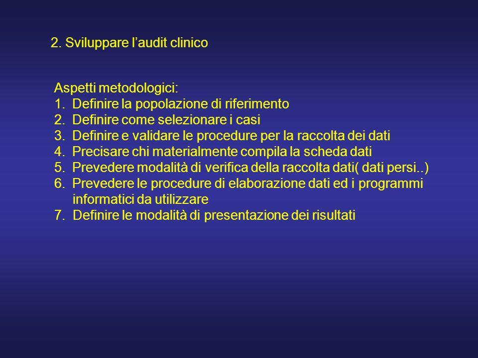 2. Sviluppare laudit clinico Aspetti metodologici: 1.Definire la popolazione di riferimento 2.Definire come selezionare i casi 3.Definire e validare l