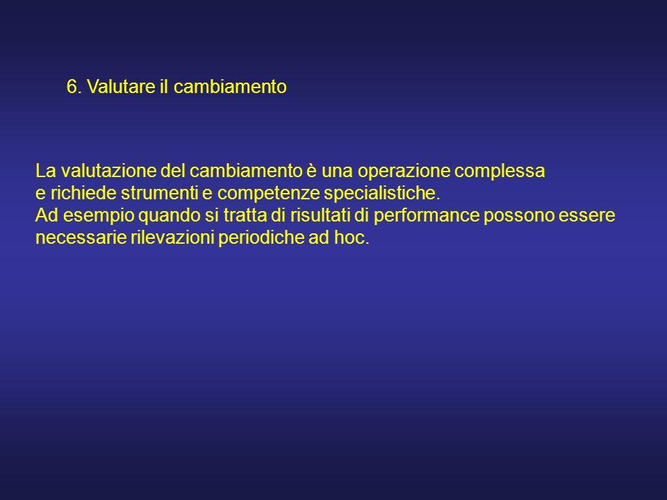 6. Valutare il cambiamento La valutazione del cambiamento è una operazione complessa e richiede strumenti e competenze specialistiche. Ad esempio quan