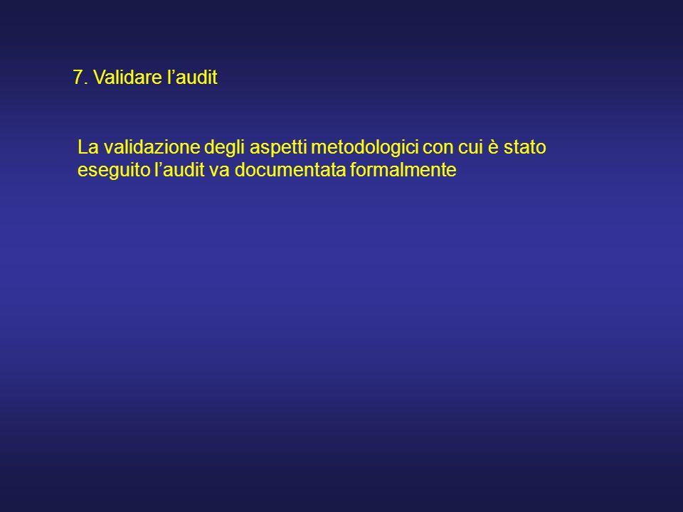 7. Validare laudit La validazione degli aspetti metodologici con cui è stato eseguito laudit va documentata formalmente