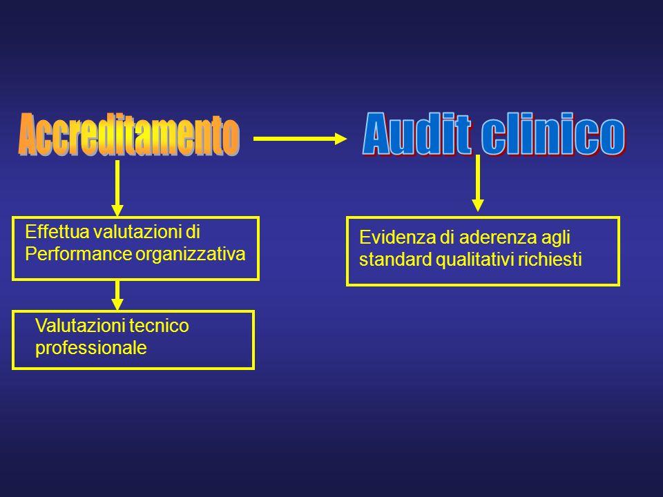 Effettua valutazioni di Performance organizzativa Valutazioni tecnico professionale Evidenza di aderenza agli standard qualitativi richiesti