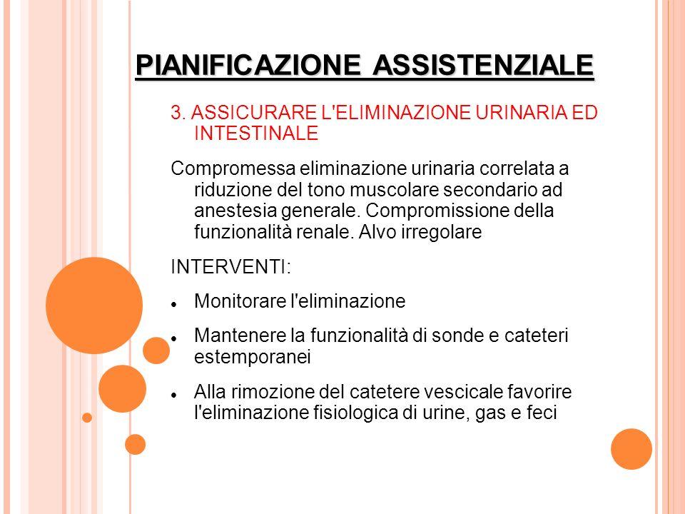 PIANIFICAZIONE ASSISTENZIALE 3. ASSICURARE L'ELIMINAZIONE URINARIA ED INTESTINALE Compromessa eliminazione urinaria correlata a riduzione del tono mus
