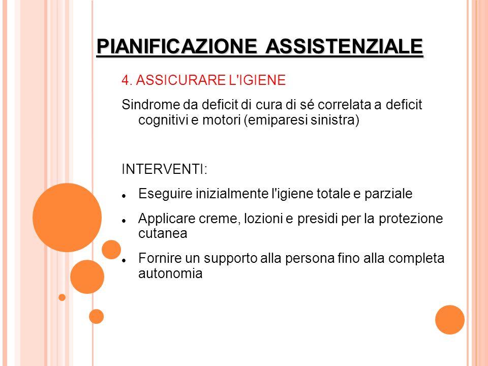 PIANIFICAZIONE ASSISTENZIALE 4. ASSICURARE L'IGIENE Sindrome da deficit di cura di sé correlata a deficit cognitivi e motori (emiparesi sinistra) INTE
