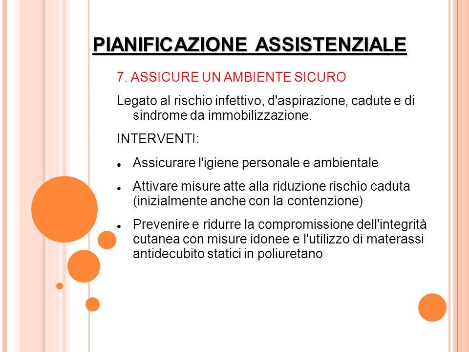 PIANIFICAZIONE ASSISTENZIALE 7. ASSICURE UN AMBIENTE SICURO Legato al rischio infettivo, d'aspirazione, cadute e di sindrome da immobilizzazione. INTE