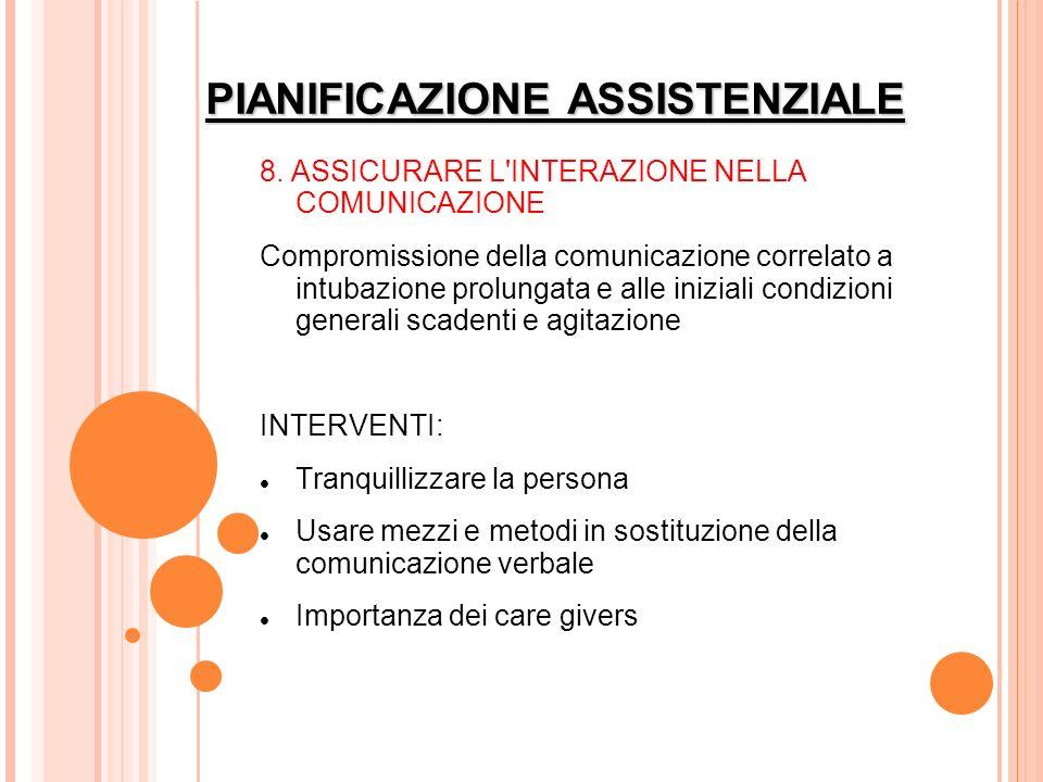 PIANIFICAZIONE ASSISTENZIALE 8. ASSICURARE L'INTERAZIONE NELLA COMUNICAZIONE Compromissione della comunicazione correlato a intubazione prolungata e a