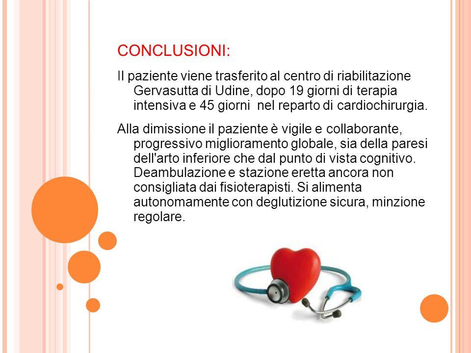 CONCLUSIONI: Il paziente viene trasferito al centro di riabilitazione Gervasutta di Udine, dopo 19 giorni di terapia intensiva e 45 giorni nel reparto