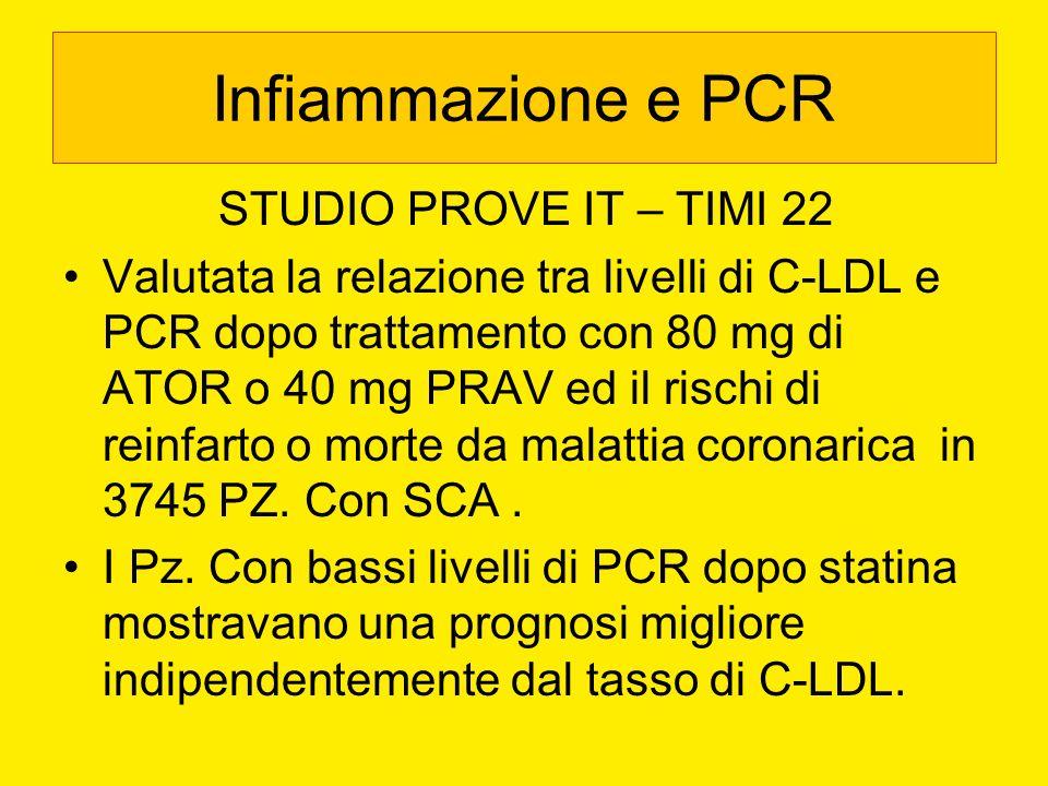 Infiammazione e PCR STUDIO PROVE IT – TIMI 22 Valutata la relazione tra livelli di C-LDL e PCR dopo trattamento con 80 mg di ATOR o 40 mg PRAV ed il r
