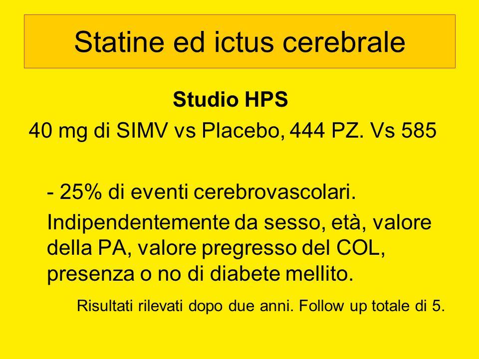 Statine ed ictus cerebrale Studio HPS 40 mg di SIMV vs Placebo, 444 PZ. Vs 585 - 25% di eventi cerebrovascolari. Indipendentemente da sesso, età, valo