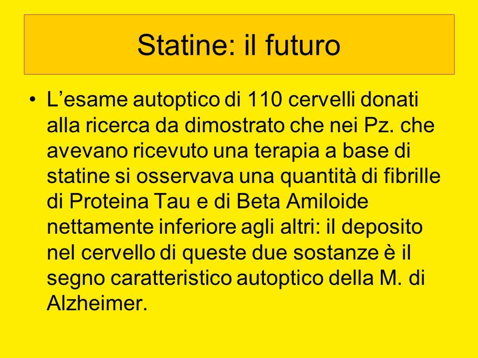 Statine: il futuro Lesame autoptico di 110 cervelli donati alla ricerca da dimostrato che nei Pz. che avevano ricevuto una terapia a base di statine s