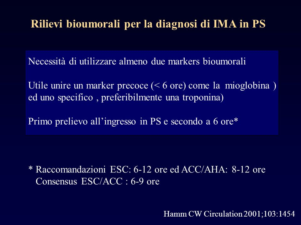 Hamm CW Circulation 2001;103:1454 Necessità di utilizzare almeno due markers bioumorali Utile unire un marker precoce (< 6 ore) come la mioglobina ) ed uno specifico, preferibilmente una troponina) Primo prelievo allingresso in PS e secondo a 6 ore* * Raccomandazioni ESC: 6-12 ore ed ACC/AHA: 8-12 ore Consensus ESC/ACC : 6-9 ore Rilievi bioumorali per la diagnosi di IMA in PS