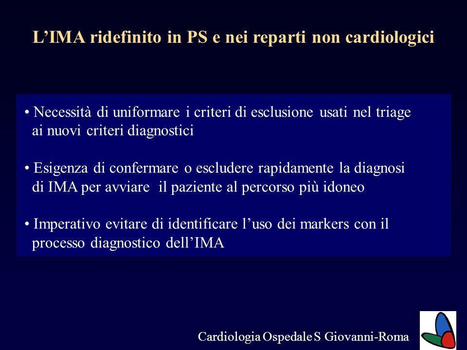 LIMA ridefinito in PS e nei reparti non cardiologici Necessità di uniformare i criteri di esclusione usati nel triage ai nuovi criteri diagnostici Esi